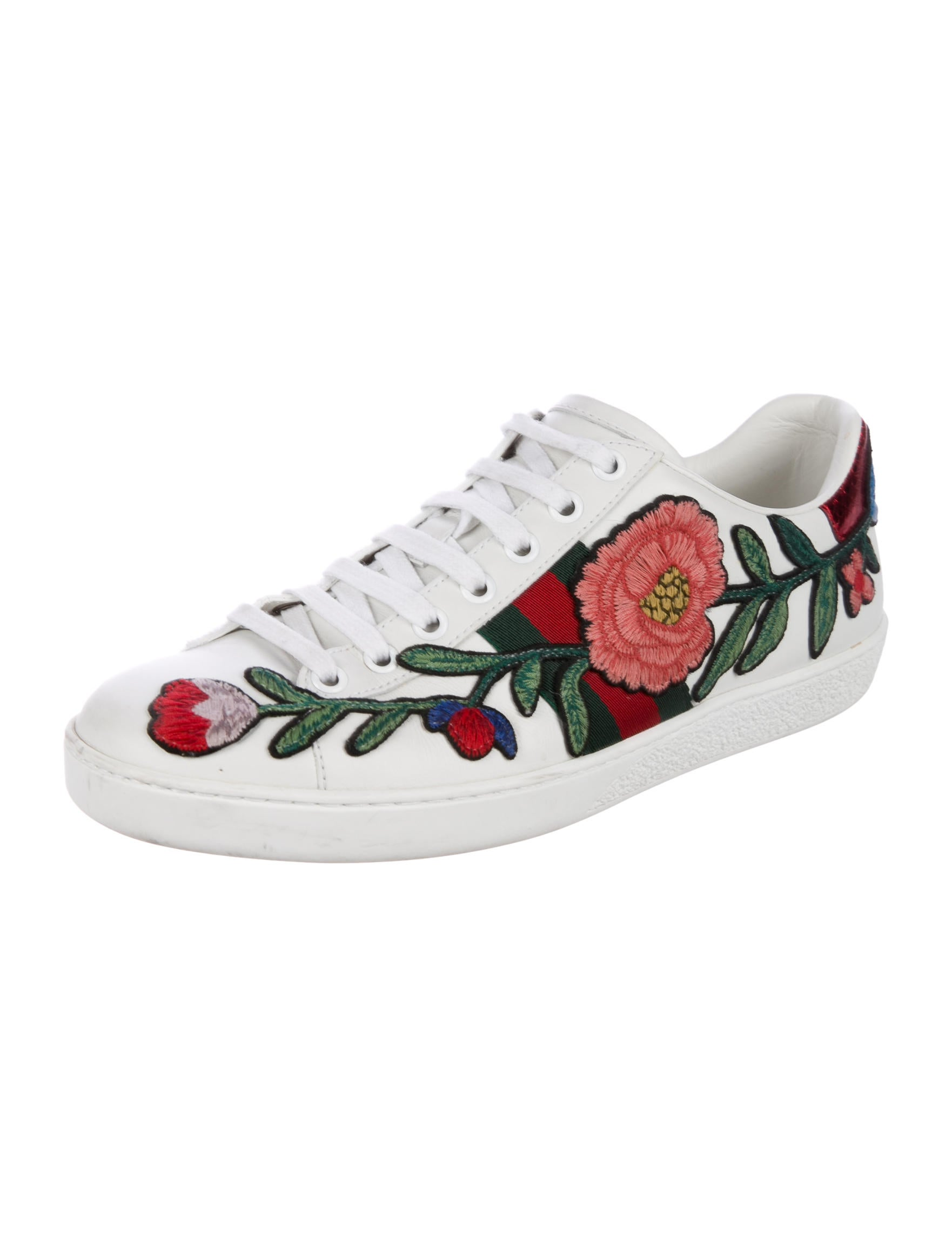 gucci new ace floral snakeskin sneakers - shoes