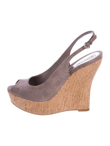 Gucci Suede Slingback Wedges None