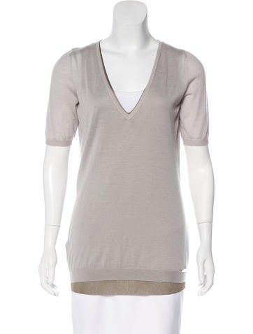 Gucci Cashmere V-Neck Top w/ Tags None