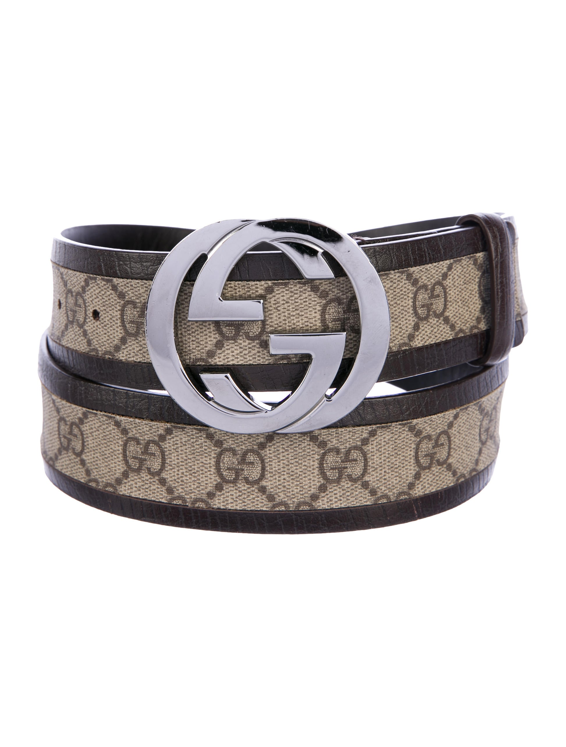 f1d716c23 Gucci Leather-Trimmed GG Supreme Belt - Accessories - GUC184534 ...
