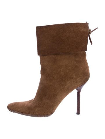 Gucci Pointed-Toe Suede Ankle Boots None