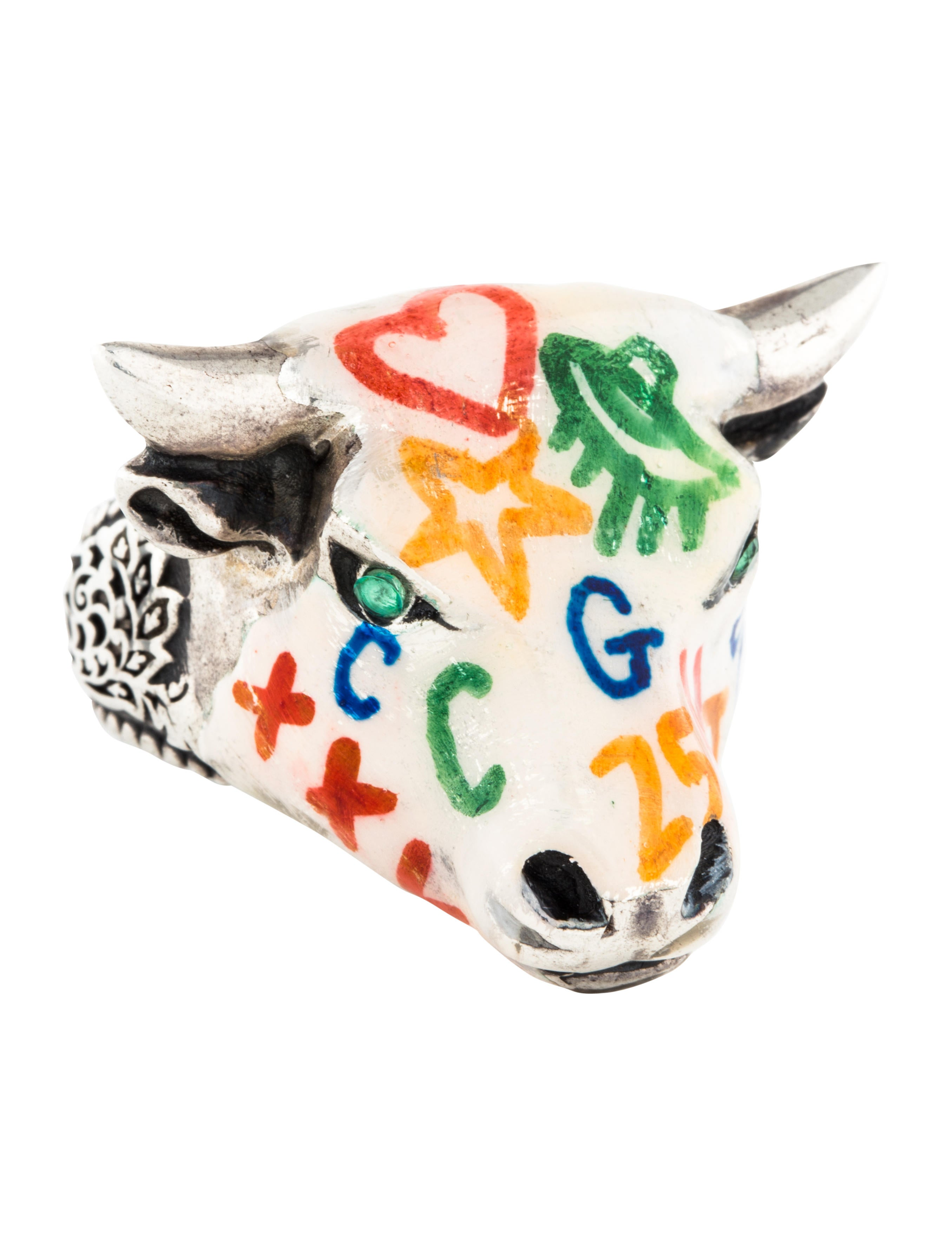 bcb564054e3d0 Gucci Anger Forest Enamel Bull Head Ring - Rings - GUC185441