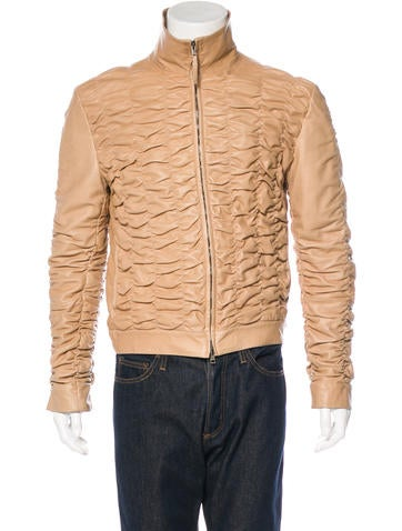 Gucci Ruched Leather Jacket None