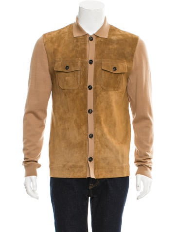 Gucci Wool & Suede Rib Knit Cardigan None