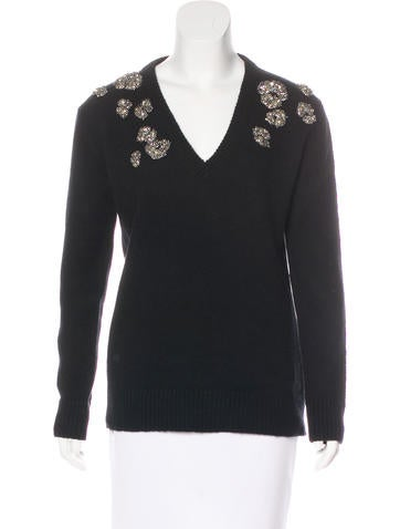 Gucci Cashmere Jewel-Embellished Sweater None