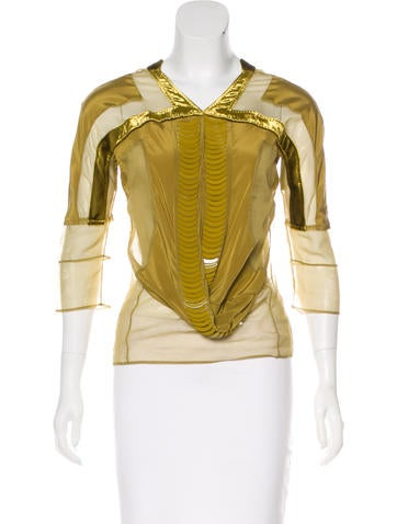 Gucci Sheer Embellished Top None
