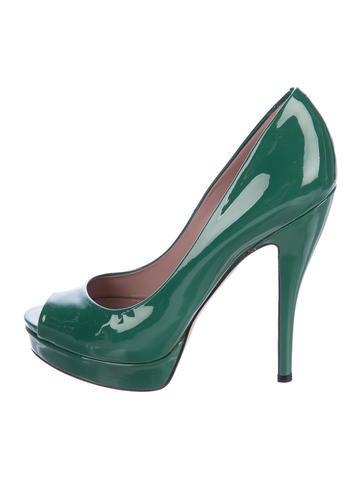 Gucci Patent Leather Peep-Toe Pumps None