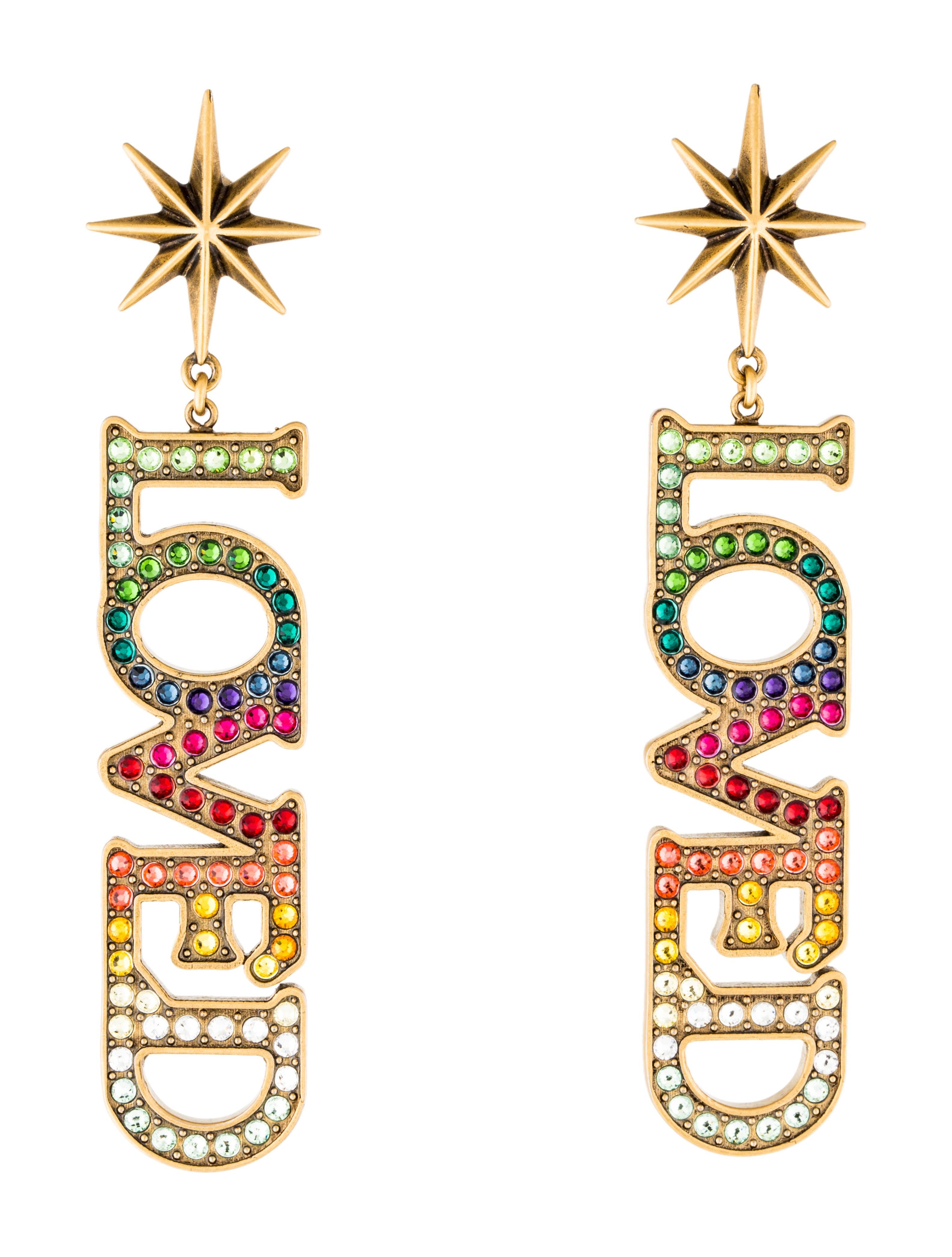 bf369ee75 Gucci Multicolor Crystal 'Loved' Pendant Earrings - Earrings ...