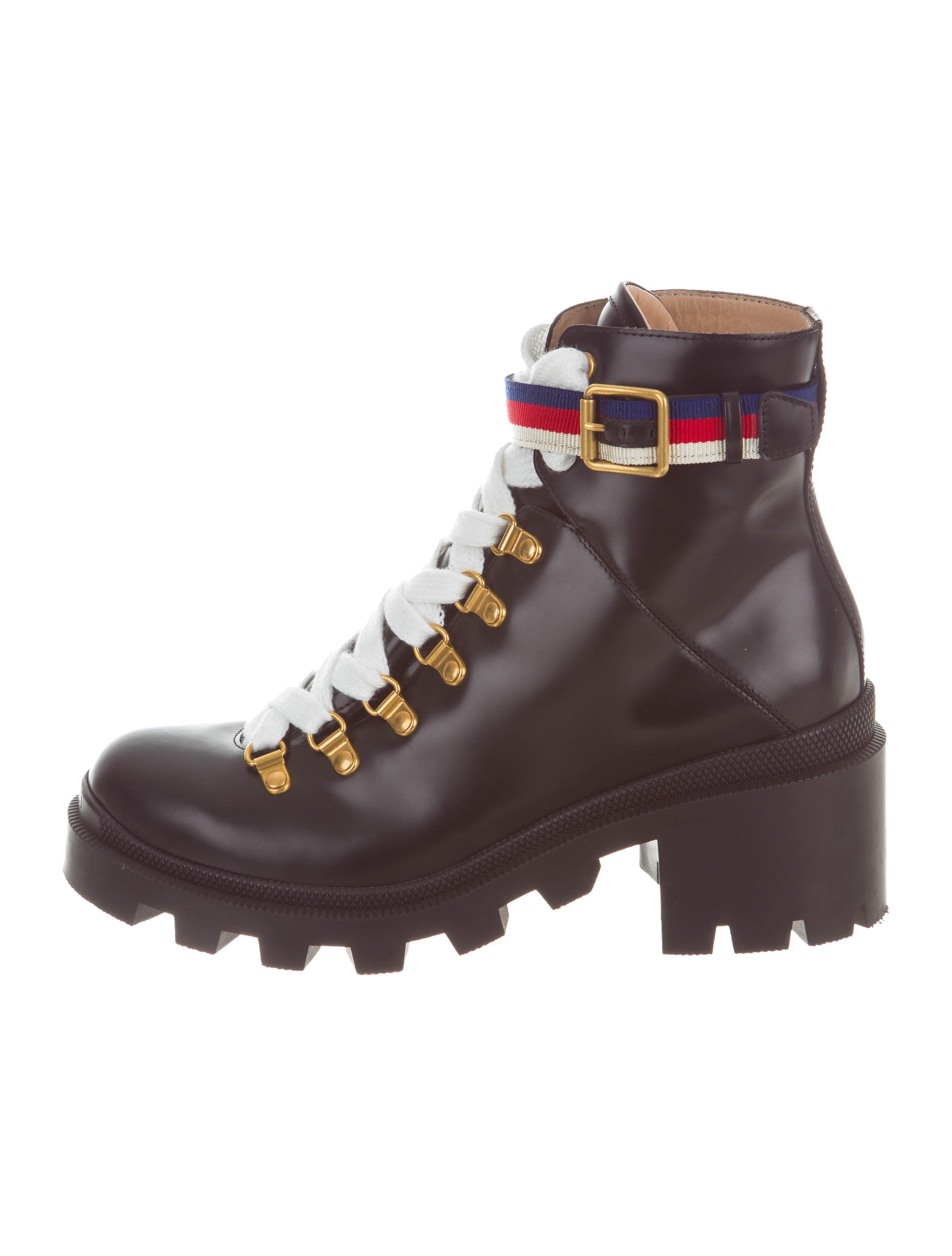 5732d41bd49 Gucci Sylvie Web Ankle Boots - Shoes - GUC189000