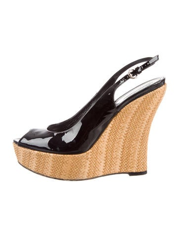 Gucci Patent Leather Slingback Wedges None