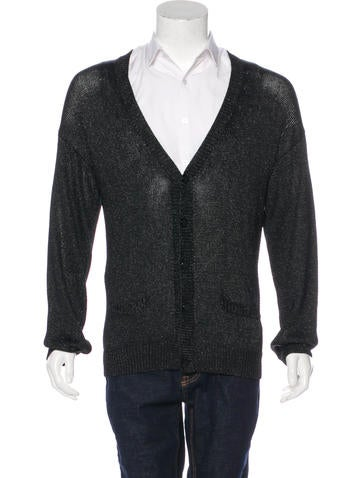 Gucci Metallic V-Neck Cardigan None
