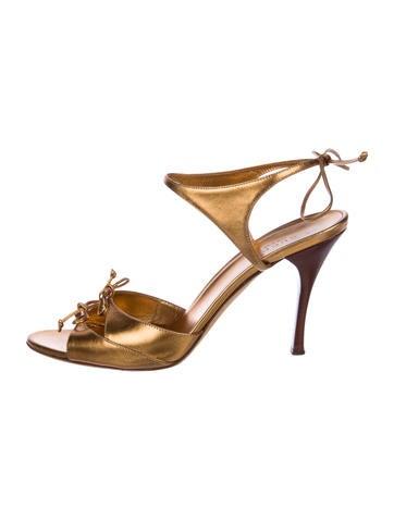 Gucci Leather Wrap-Around Sandals None