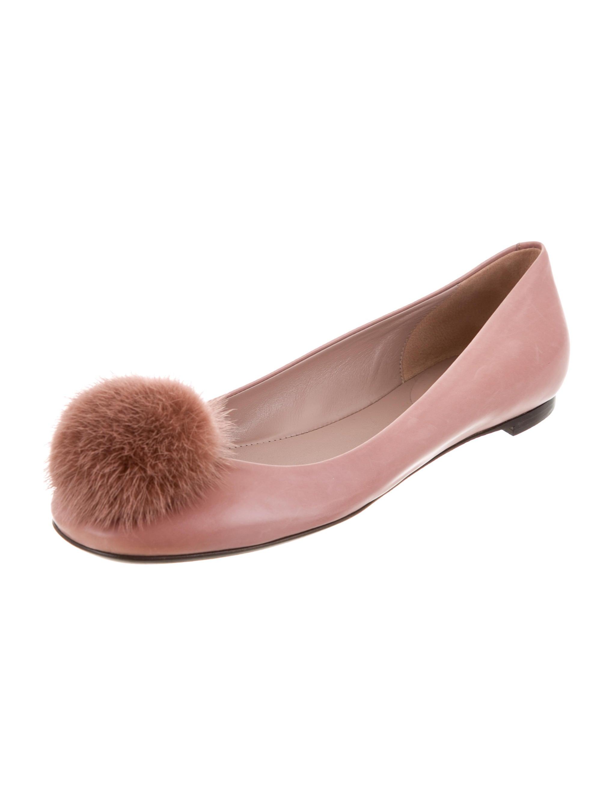Gucci Mink Fur Pom-Pom Flats - Shoes