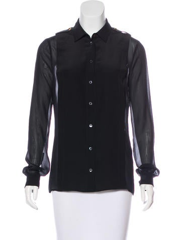 Gucci Pleated Button-Up Top None