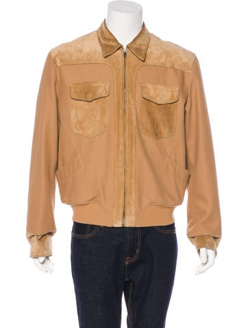 Gucci Suede-Trimmed Jacket None