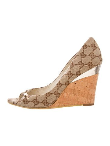 Gucci GG Peep-Toe Wedges None