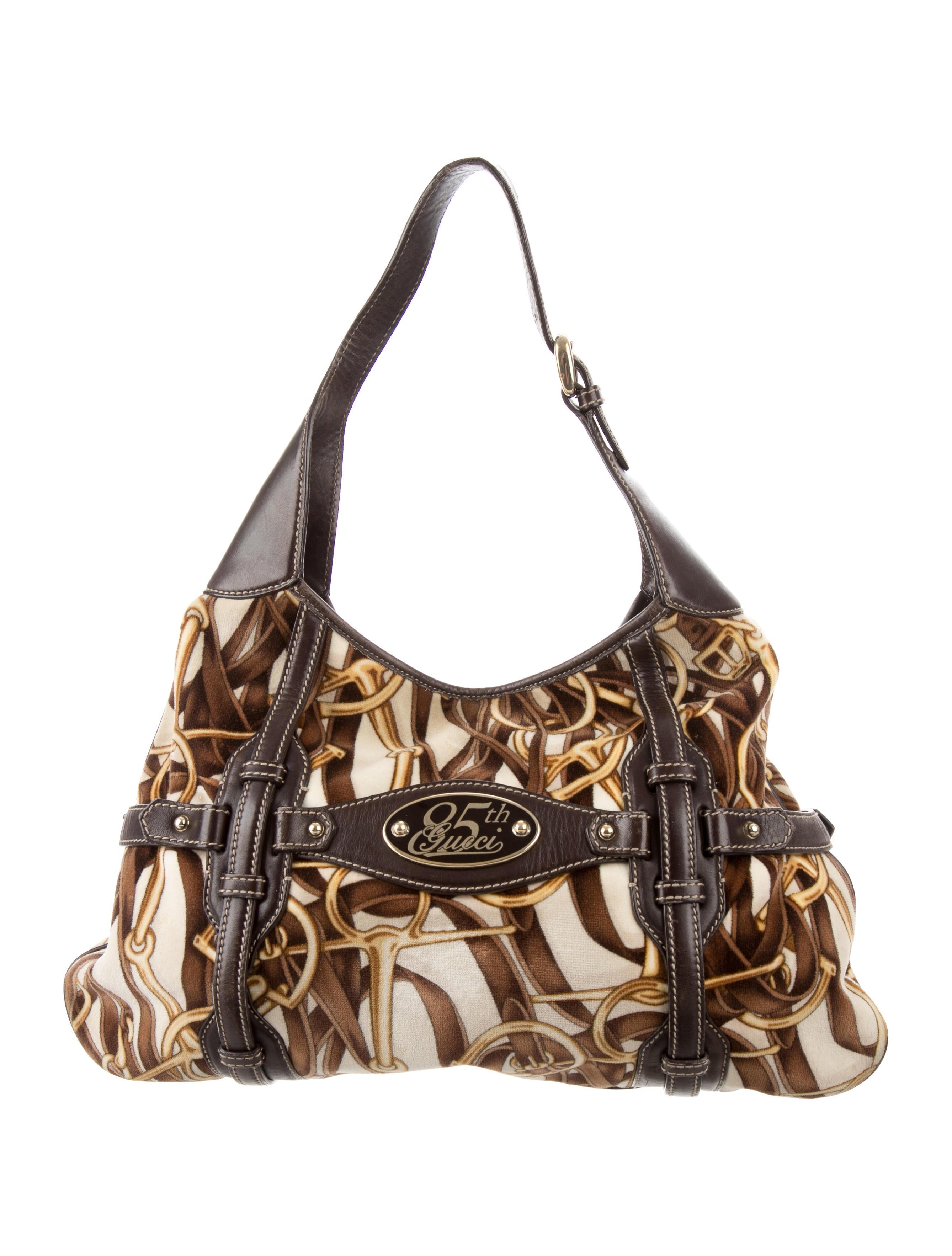Gucci 85th Anniversary Velvet & Leather Hobo Bag W/horsebit Print & Leather Trim xHXvMYwBS