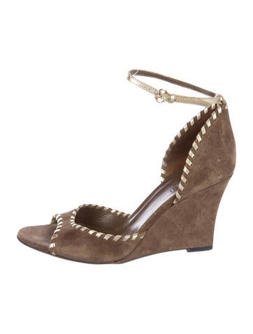 Gucci Suede Peep-Toe Wedges None
