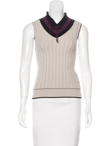 Gucci Wool Knit Sleeveless Top None