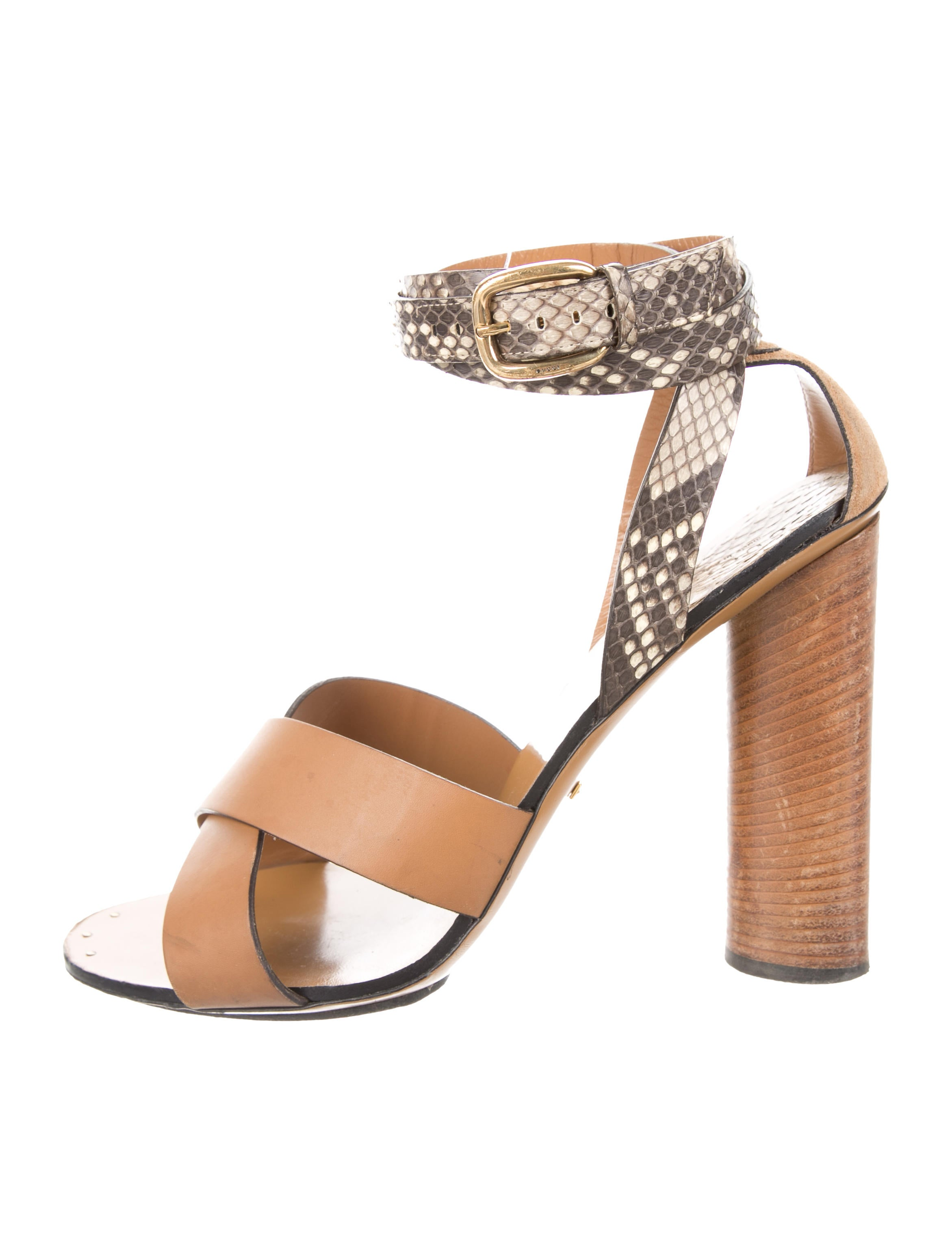 90c7f3487eff Gucci Snakeskin-Trimmed Crossover Sandals - Shoes - GUC197216