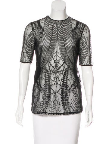 Gucci Lace-Trimmed Short Sleeve Top None