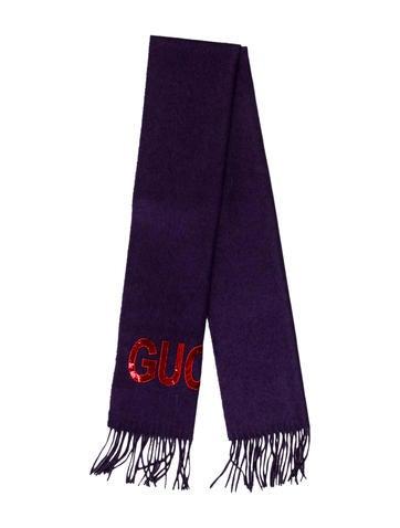 Gucci Guccy Sequin Silk & Cashmere Scarf None