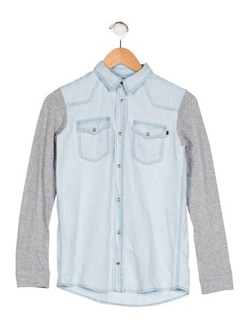 Gucci Girls' Colorblock Chambray Top None
