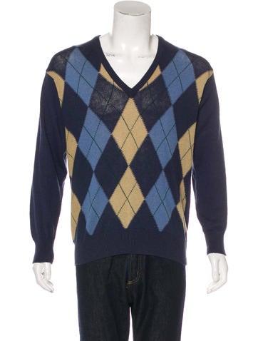 Gucci Linen-Blend Argyle Sweater None