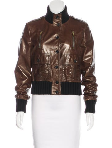 Gucci Leather Bomber Jacket None