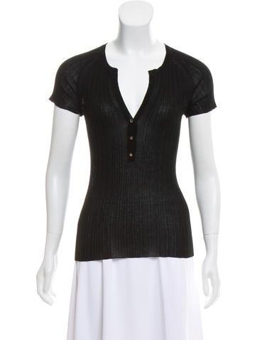Gucci Rib Knit Short Sleeve Top None