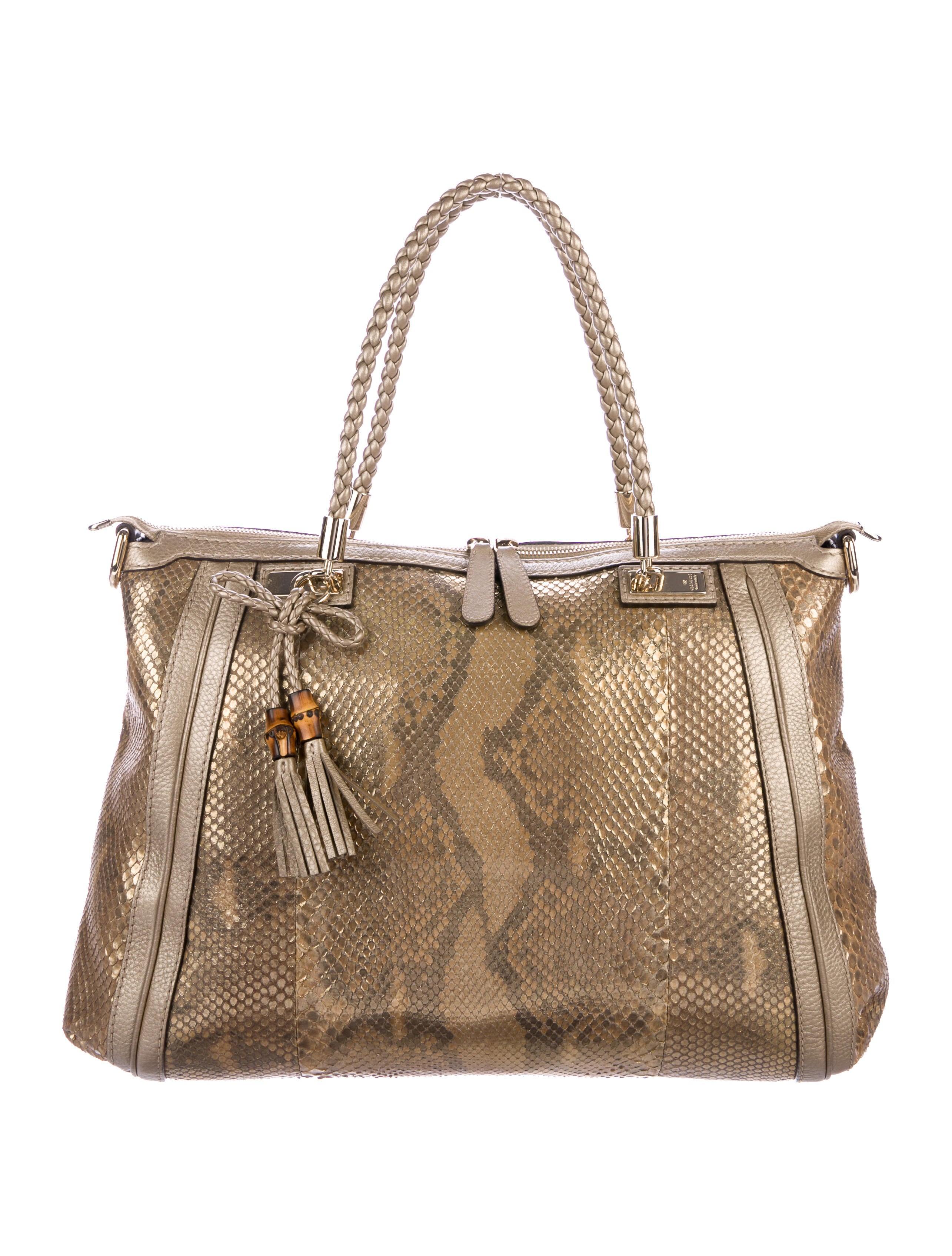 2411067bd1f Gucci Python Bella Top Handle Bag - Handbags - GUC205059