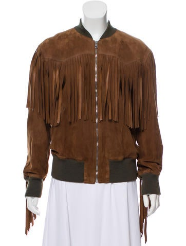 Gucci Fringe-Trimmed Suede Jacket w/ Tags None