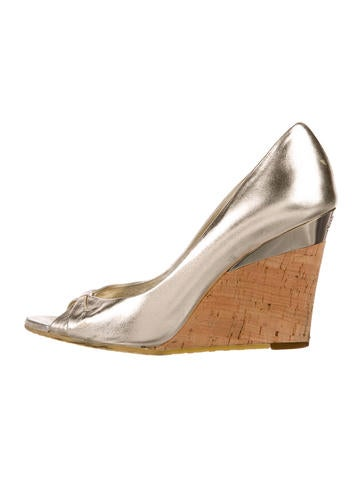 Gucci Metallic Leather Wedges None