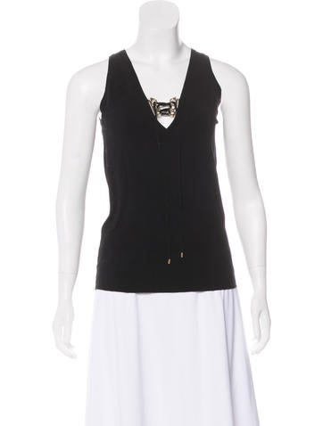 Gucci Sleeveless Lace-Up Top None