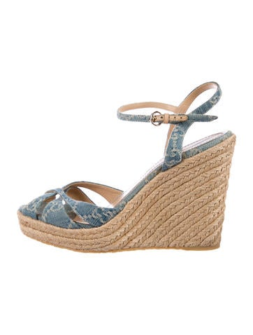 Gucci GG Denim Espadrille Wedges None