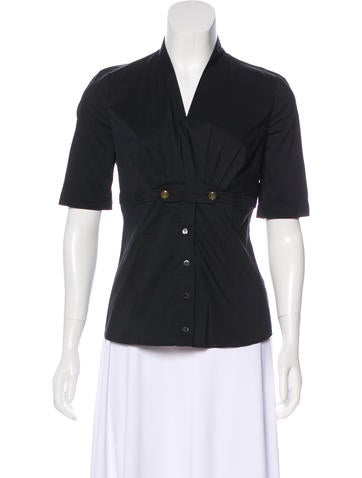 Gucci Short Sleeve Pleated Top None