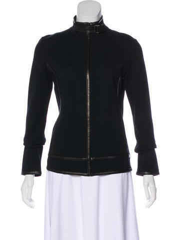 Gucci Leather-Trimmed Wool Cardigan None