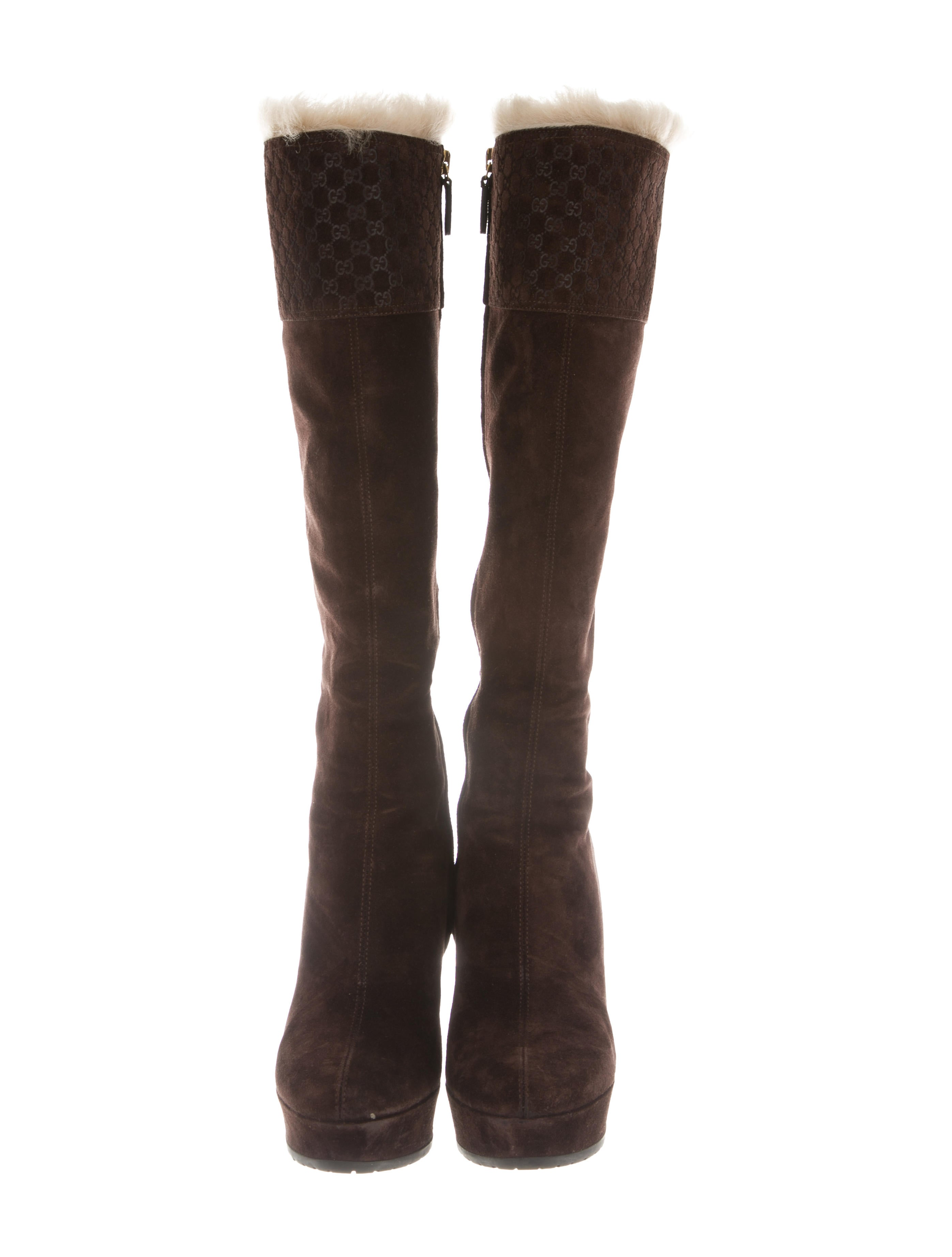 92ce75c9324351 Gucci GG Wedge Boots - Shoes - GUC211263