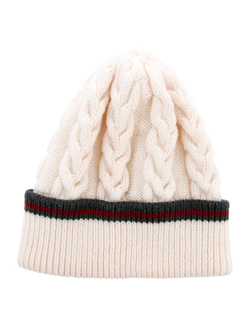 9317234a1 Gucci Web-Trimmed Cable Knit Beanie - Accessories - GUC216035 | The ...