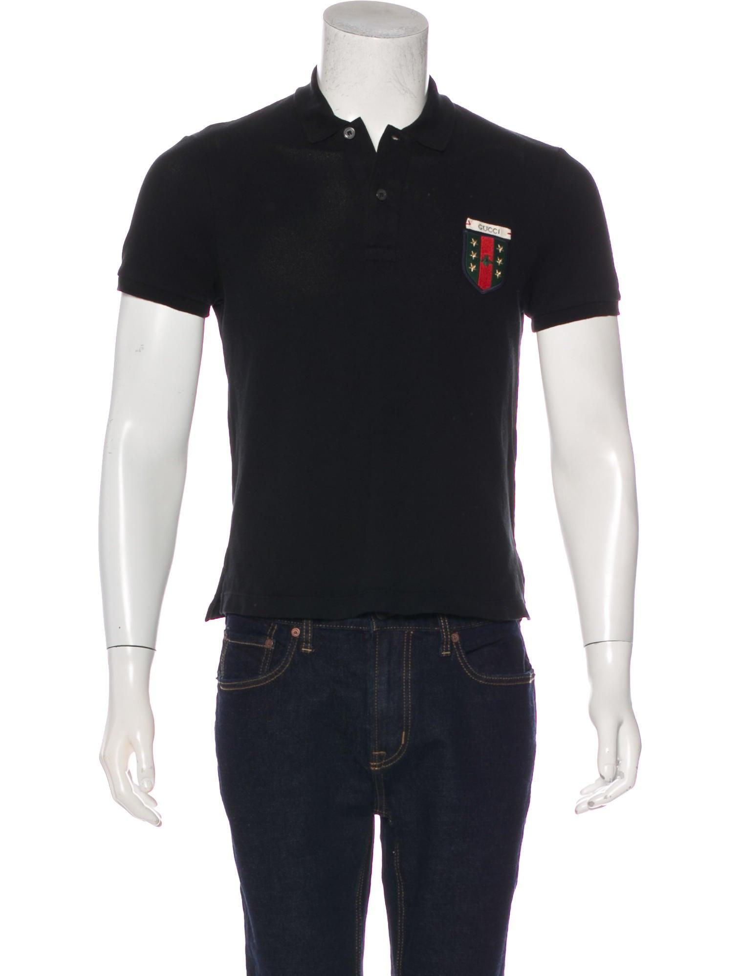 7a8e2617b Gucci 2018 Web Crest Appliqué Polo Shirt - Clothing - GUC216335 ...