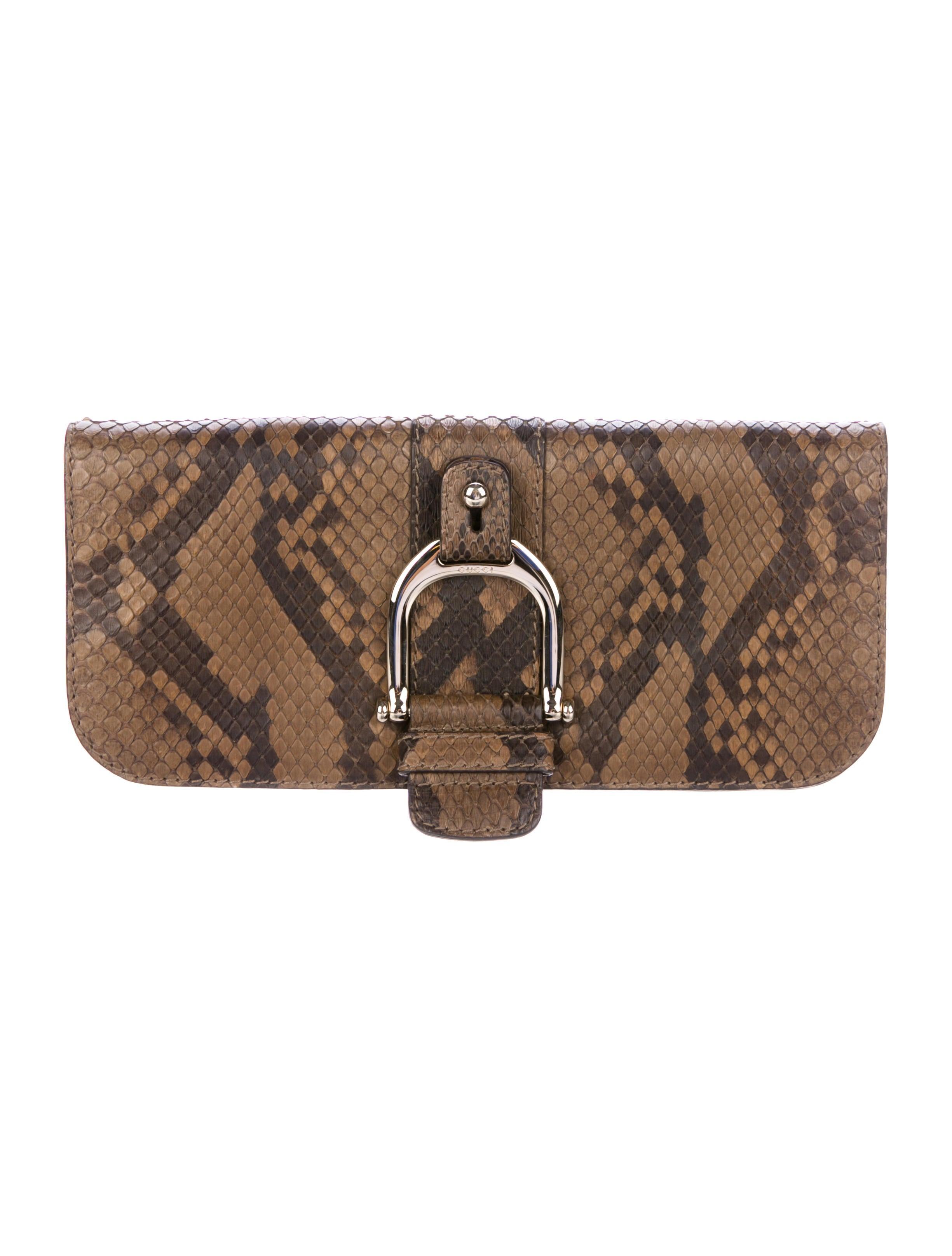 8e28964fda8cb2 Gucci Python Greenwich Clutch - Handbags - GUC217716 | The RealReal