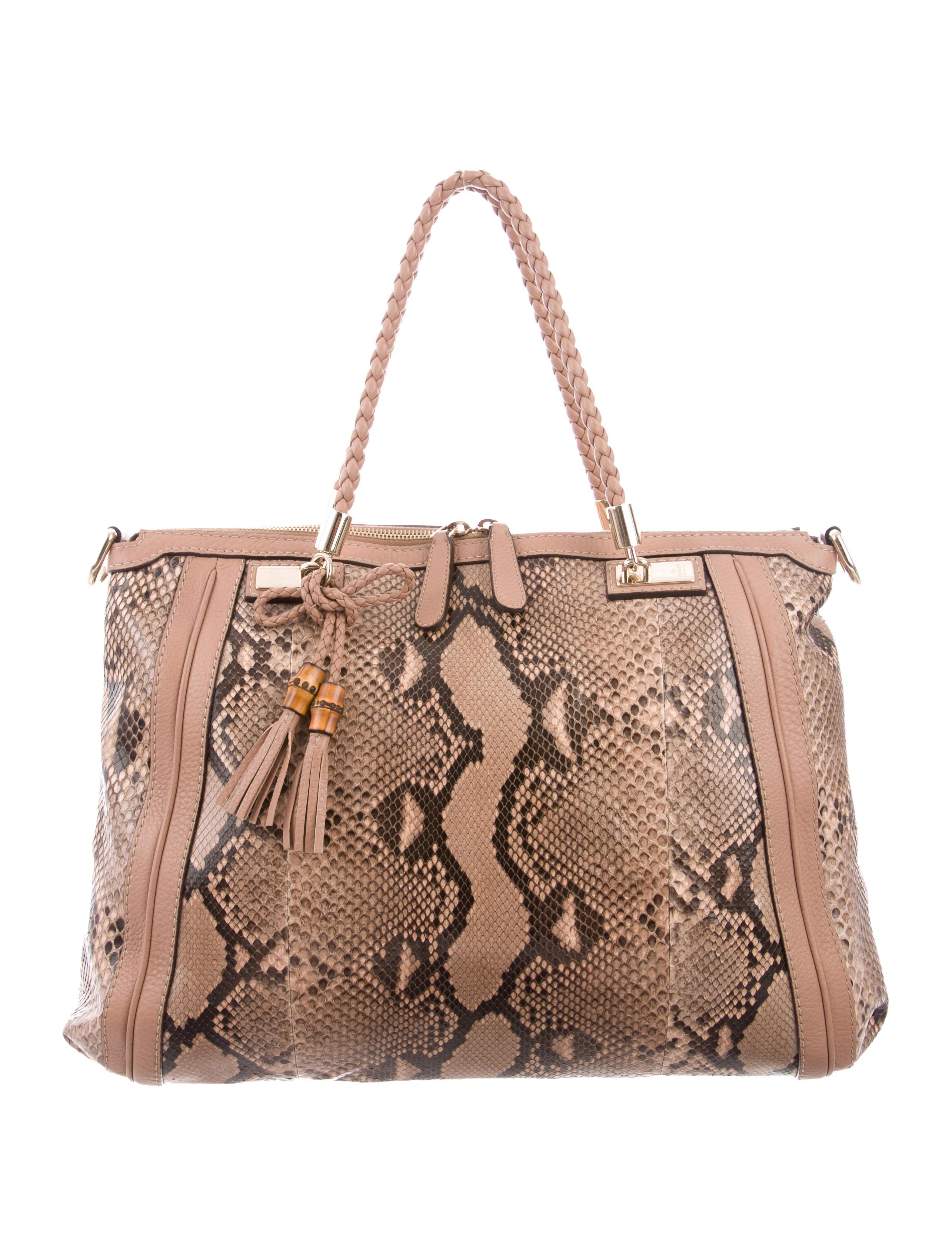 abf6b0f0b3c Gucci Python Bella Top Handle Bag - Handbags - GUC217920
