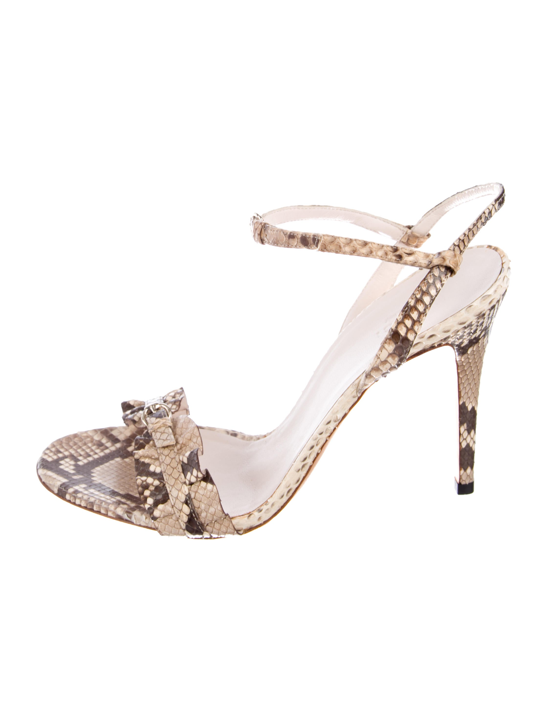 507c41e02a9 Gucci Snakeskin Ankle-Strap Sandals - Shoes - GUC222392