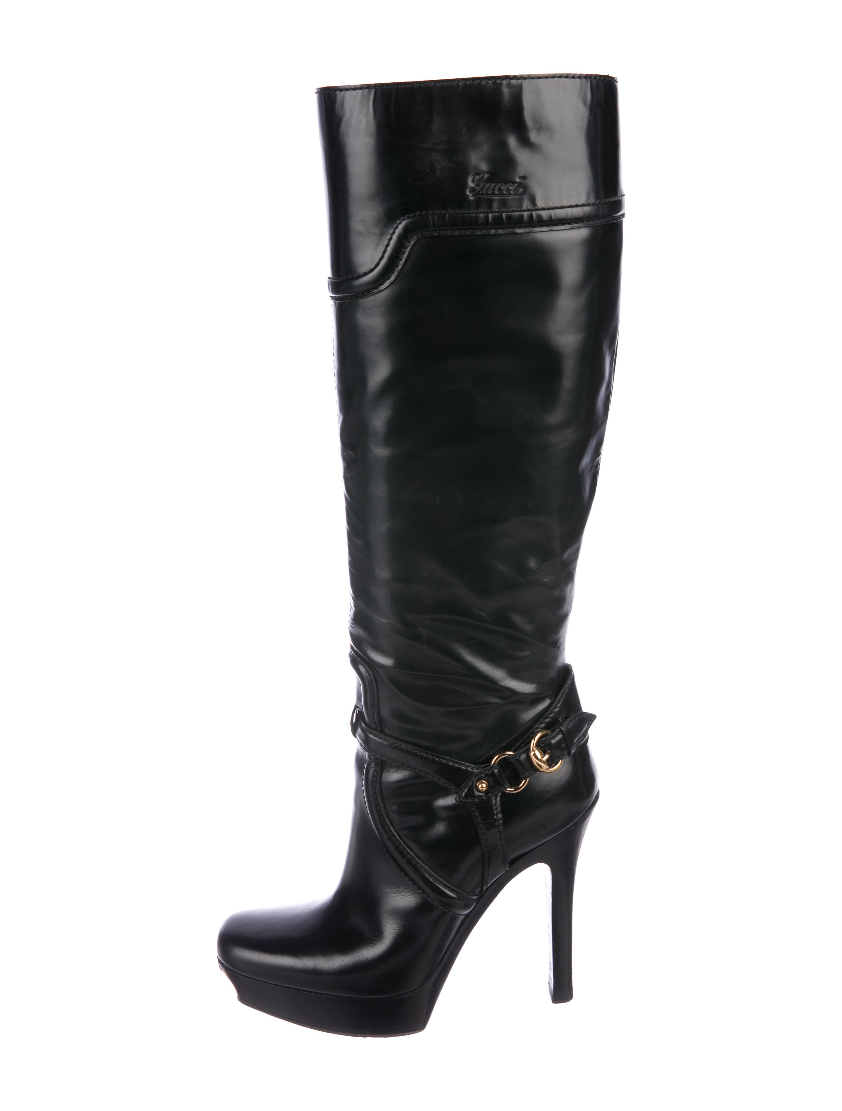 3ad5fc3206a Gucci Knee-High Stirrup Boots - Shoes - GUC223238
