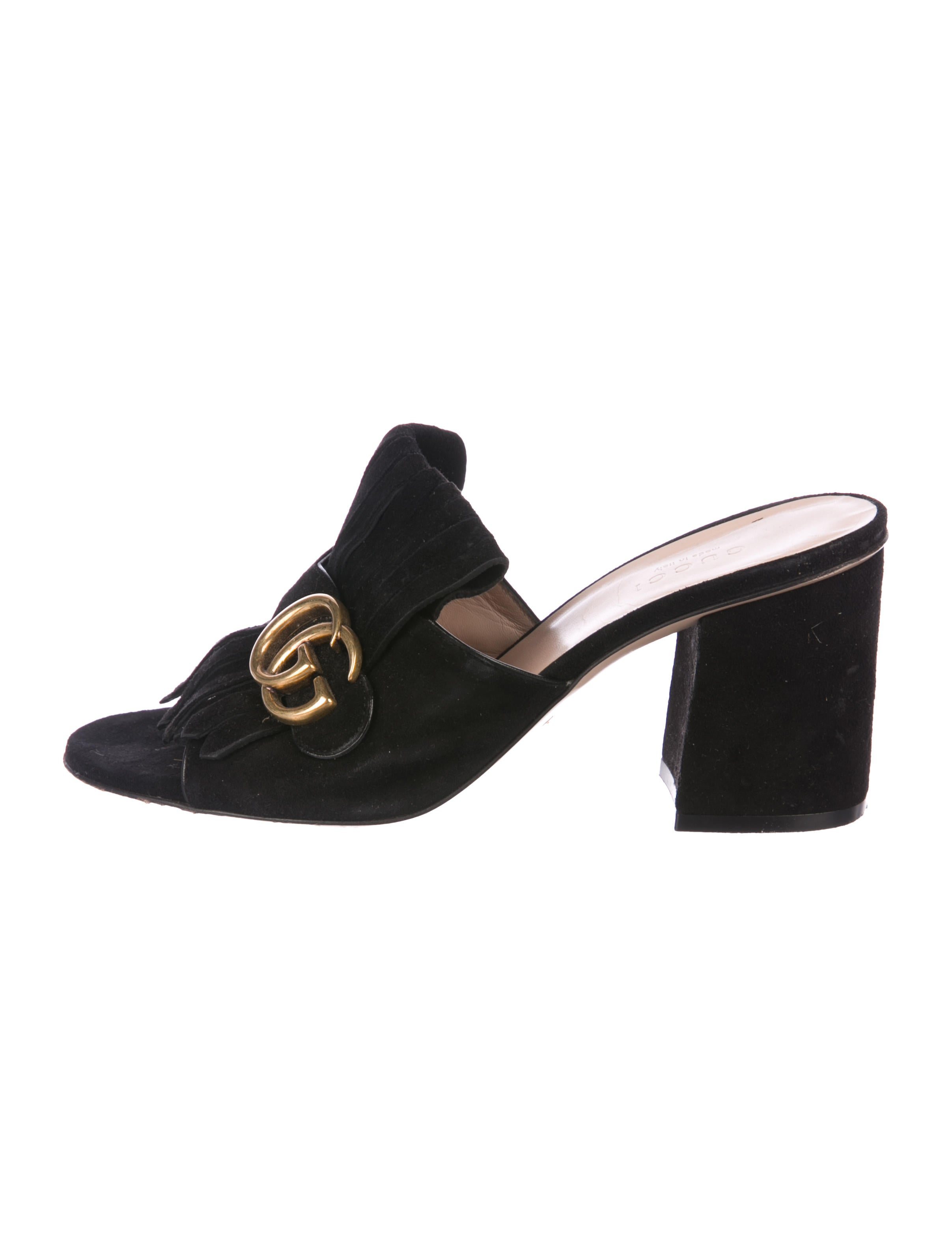 20f57b3f1 Gucci GG Peep-Toe Mules - Shoes - GUC225940 | The RealReal