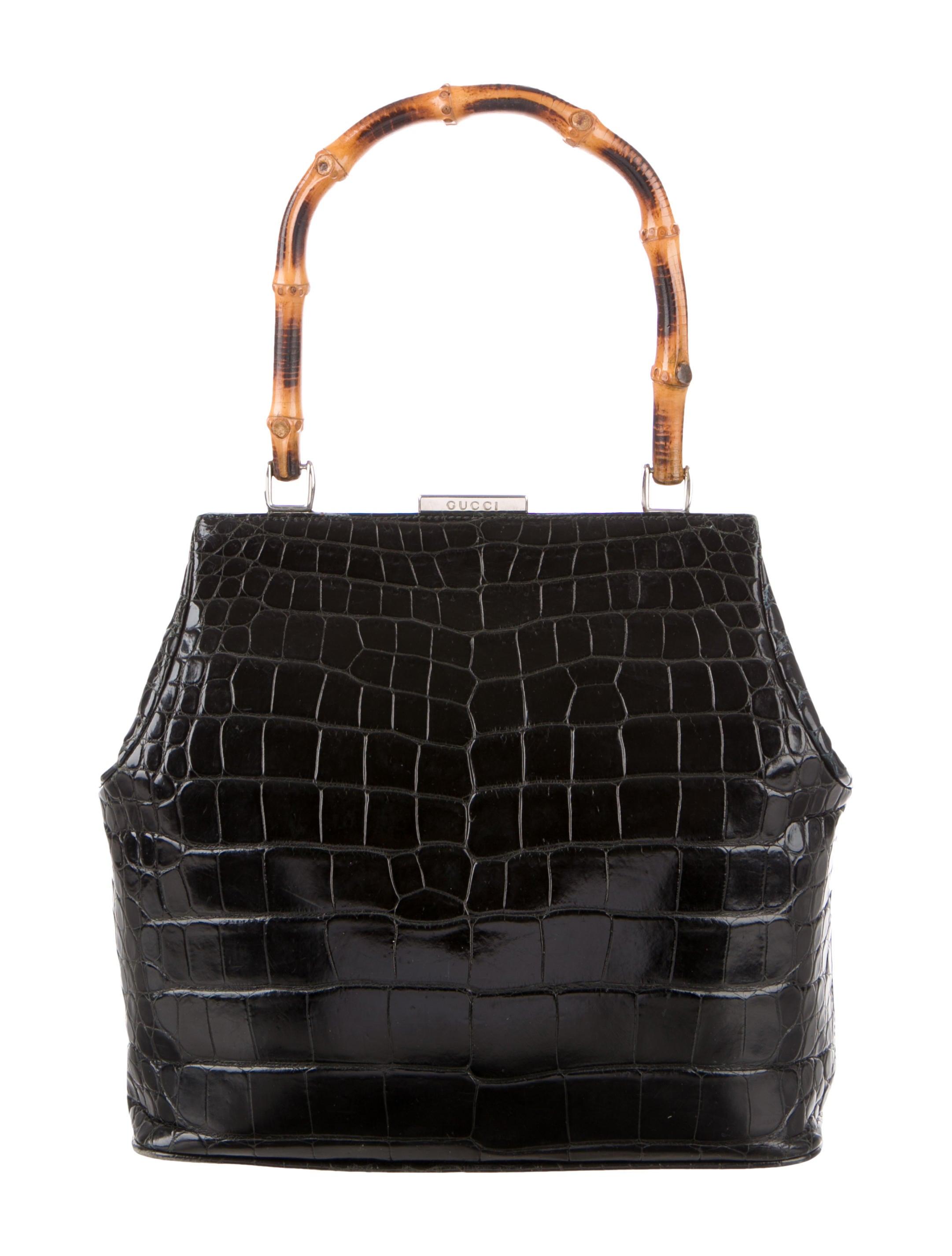 84589480b943 Gucci Vintage Crocodile Bamboo Top Handle Bag - Handbags - GUC228804 ...