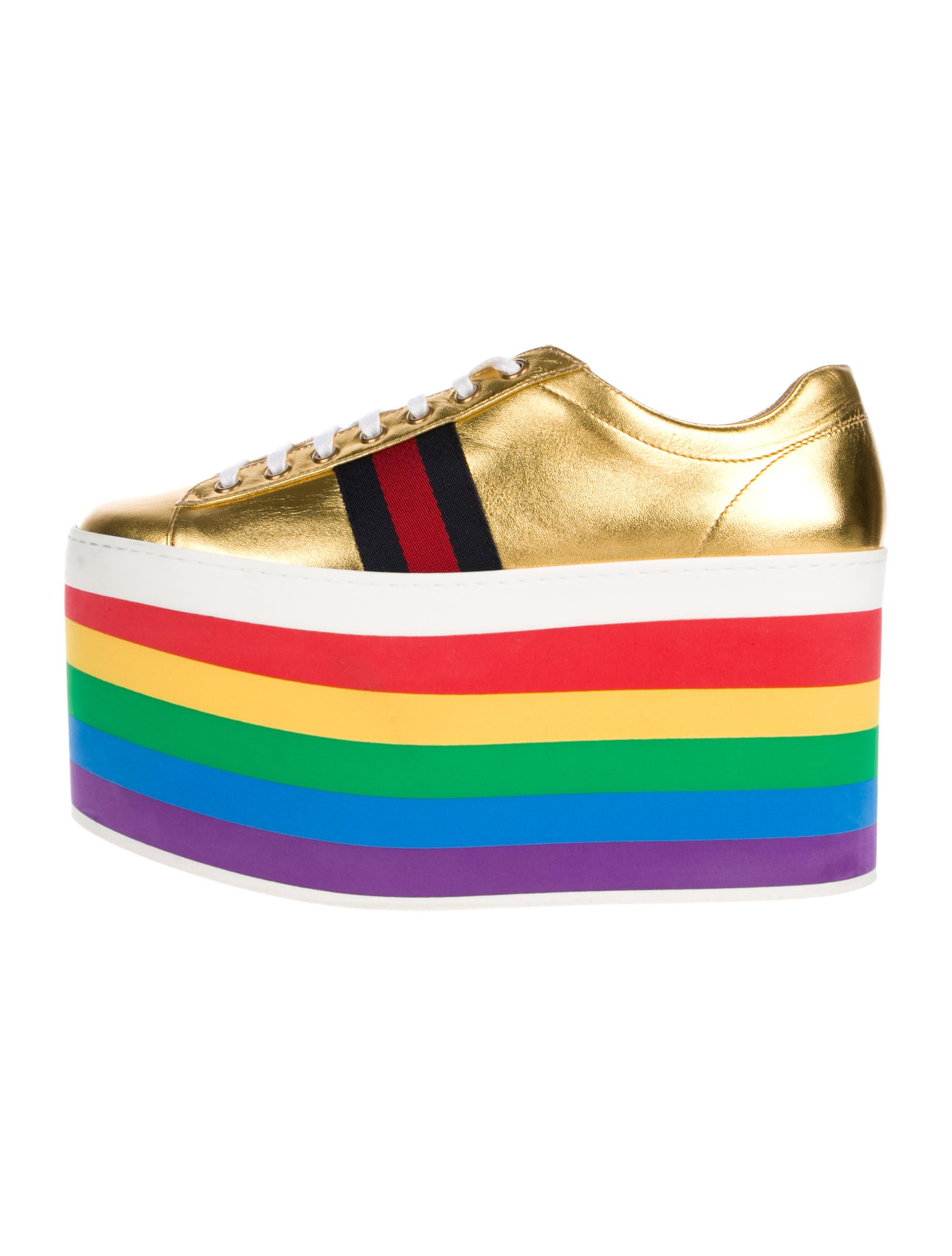 a8346eb38b1 Gucci 2017 Peggy Metallic Platform Sneakers - Shoes - GUC229862 ...