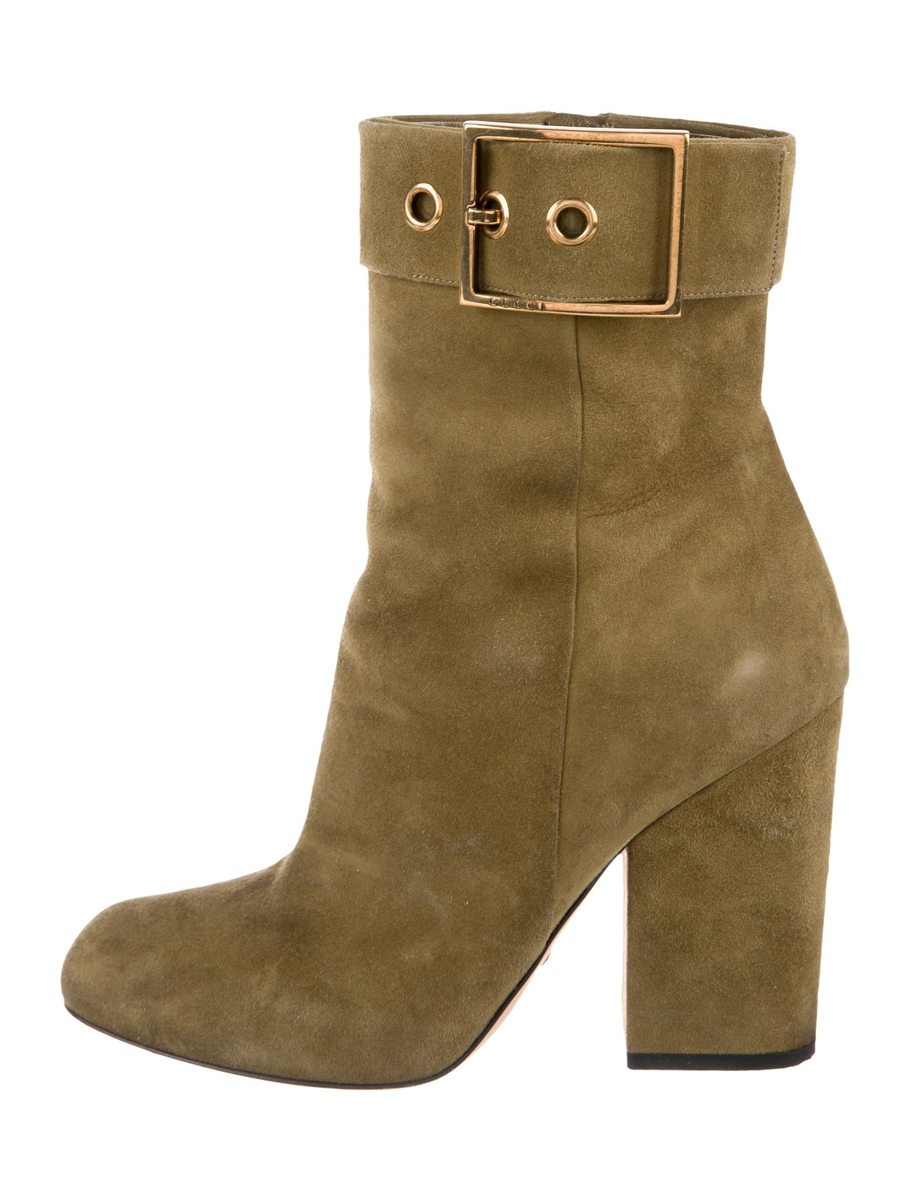 3291b0ce2 Gucci Buckle Suede Ankle Boots - Shoes - GUC234683 | The RealReal