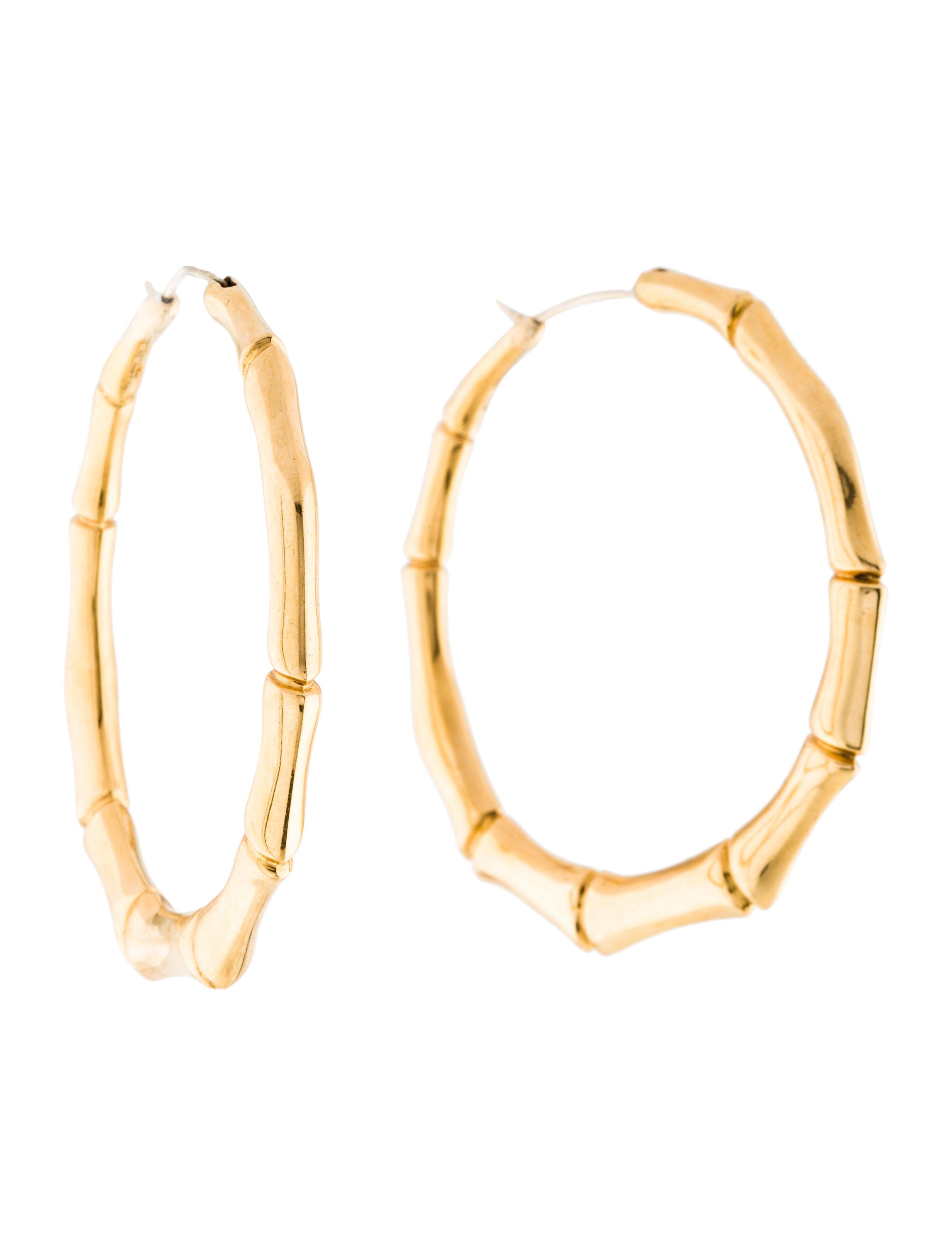 4ef369931 Gucci 18K Bamboo Hoop Earrings - Earrings - GUC241404 | The RealReal