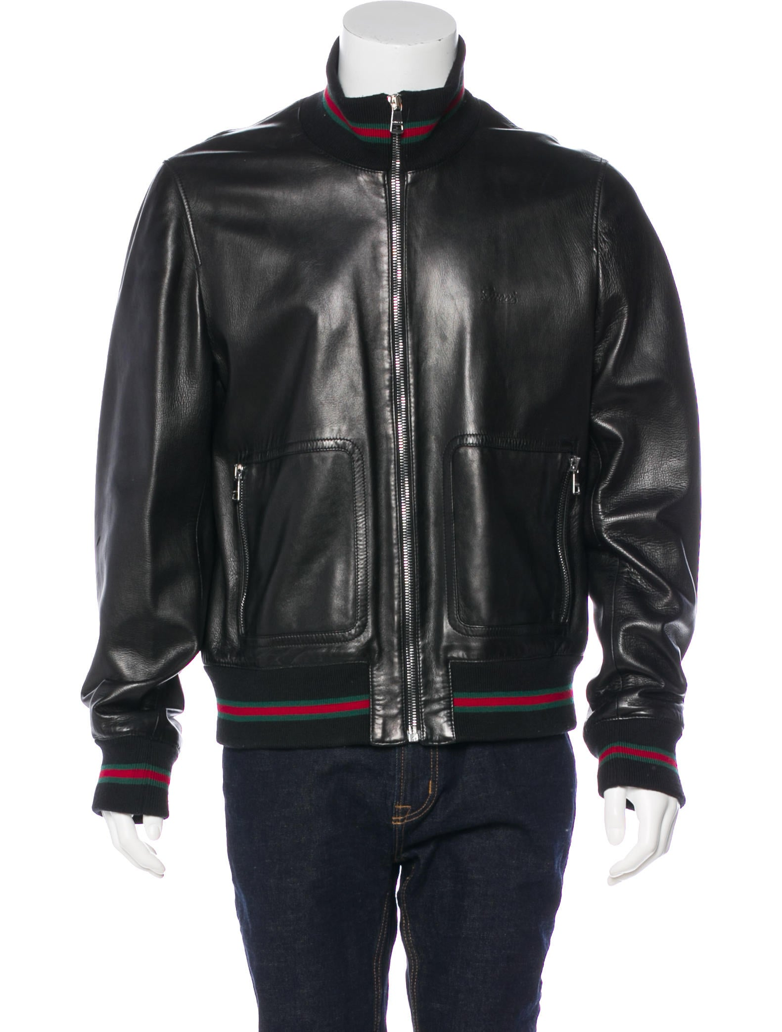 0f62dcc23 Gucci Web-Trimmed Leather Jacket - Clothing - GUC242061 | The RealReal